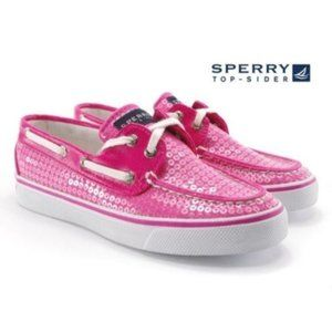 Sperry hot pink sequined Biscayne Sz 6